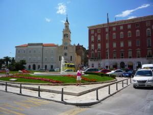 rue, floral, parc, devant, église catholique
