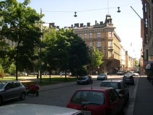 strada, parcheggio, auto, città, urbano