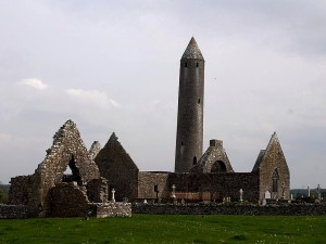 Kilmacduagh, rond, tour, burren, Irlande