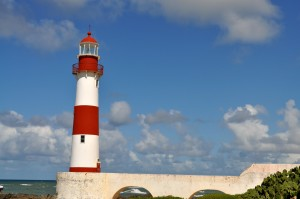 red, blue, painted, lighthouse, coast