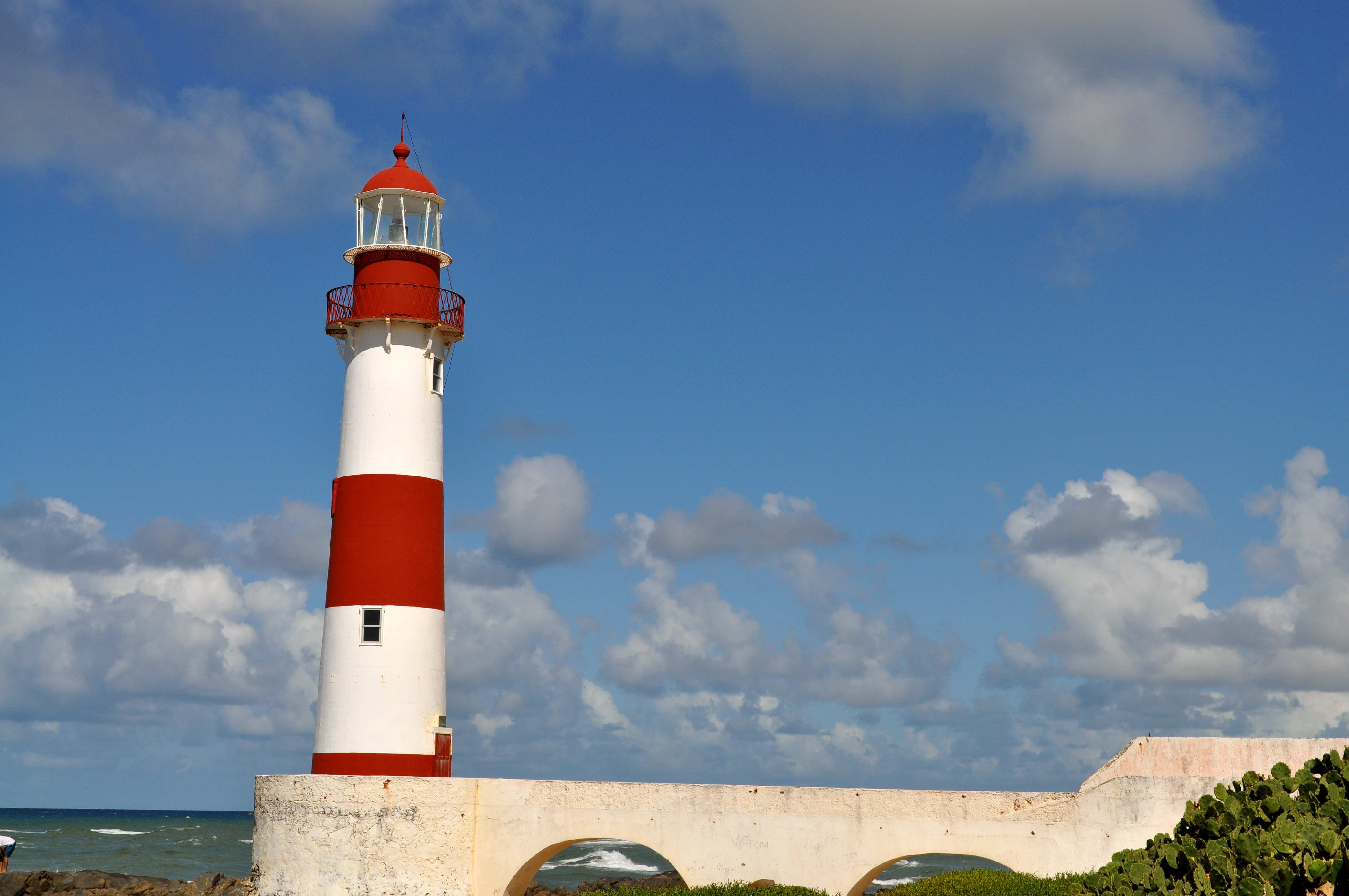 Free photograph; red, blue, painted, lighthouse, coast