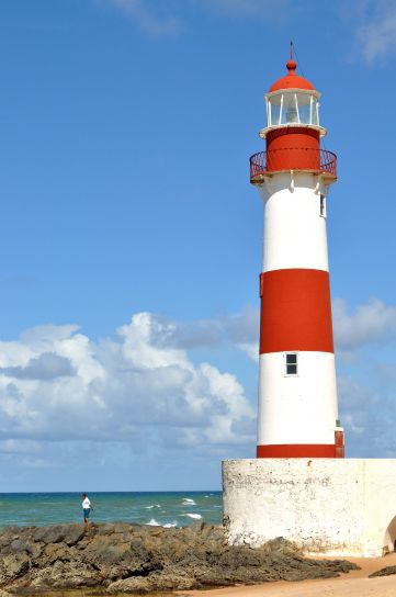 red, white, tower, lighthouse