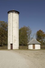 tall, white, silo, shaped, wildlife, observation, tower, viewing, spaces, top