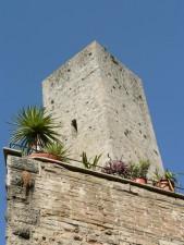village, tower, stone