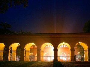 balboa, park, lights, night, arches