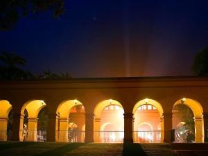 balboa, parc, lumières, nuit, arcs
