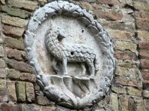 lamb, emblem, wall