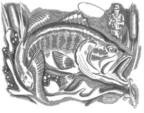 ilustrasi, nelayan, penangkapan, ikan, kertas, hitam dan putih, teknik