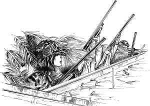 les gens, la chasse, illustration