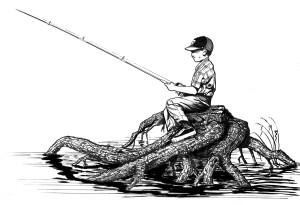 línea arte, niño, sentado, madera, pesca