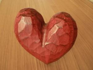 Crveni, drvena, srce