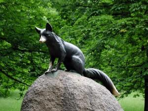 statue, fox