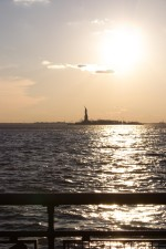 statue, liberty, nightfall