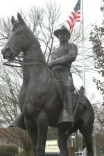 patung, Presiden, Theodore, Roosevelt, kasar, pengendara, seragam, Berkuda