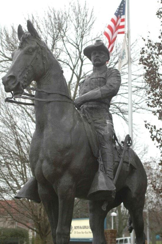 statue, president, Theodore, Roosevelt, rough, rider, uniform, horseback