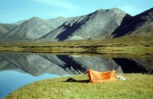 camping, lac sans nom, montagnes
