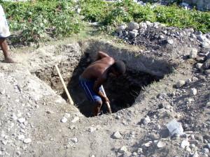 excavación, agujero, subterráneo, séptico, almacenamiento, tanque