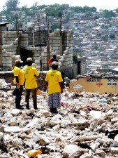 disaster, relief, workers, standing, mist, large, amounts, rubble, cleared