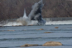 explosives, destruction, dam, river