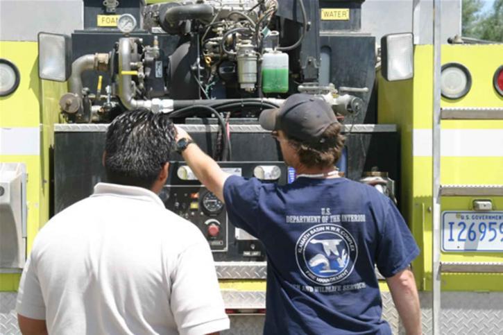 feu, camion, moteur, l'utilisation, la formation