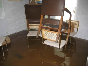 flooded, house, interior