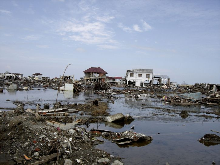 flooding, 2004, tsunami, aceh, destroyed, rubble, water, Indonesia