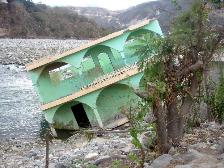 huragan, stan, zniszczone, budowanie, wielu, struktur, centrum, Ameryka, Meksyk