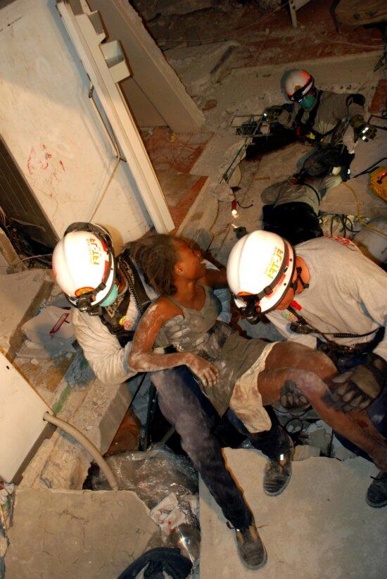 rescue, young female, earthquake, Haiti