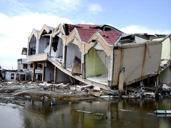 tsunami, flooding, completely, destroyed, apartment, buildings