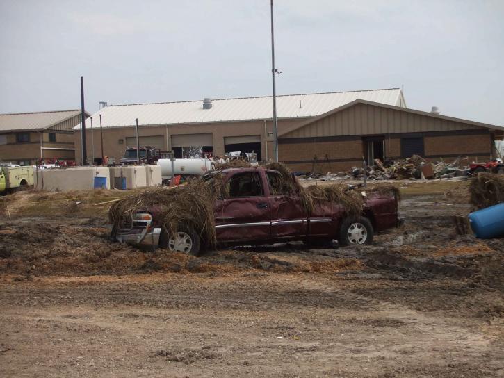 camión, construcción, sudamage, fuerza, huracán