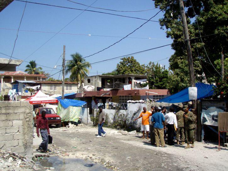 typisk, gate, scene, Haiti, land, slo, massive jordskjelv