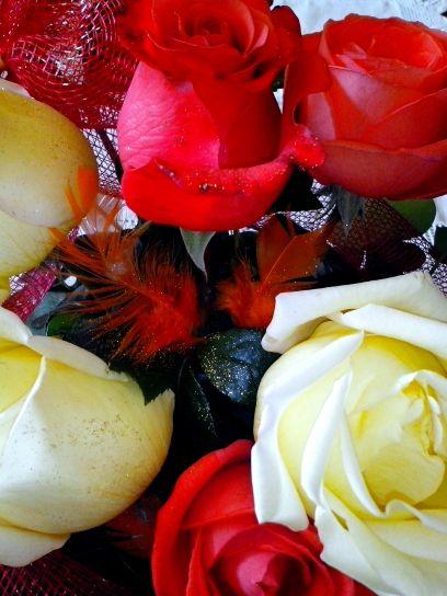 košara, cvatnje, cvijeće, ruže