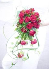 wedding, bouquet, red, reses