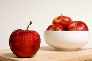 pommes, fond, unique, pomme, couvert, gouttes