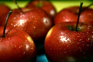 μήλα, νωπά, φρούτα, νερό, σταγονίδια