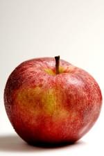 pomme, belle, rouge, peau, tacheté, nuances, d'or, jaune
