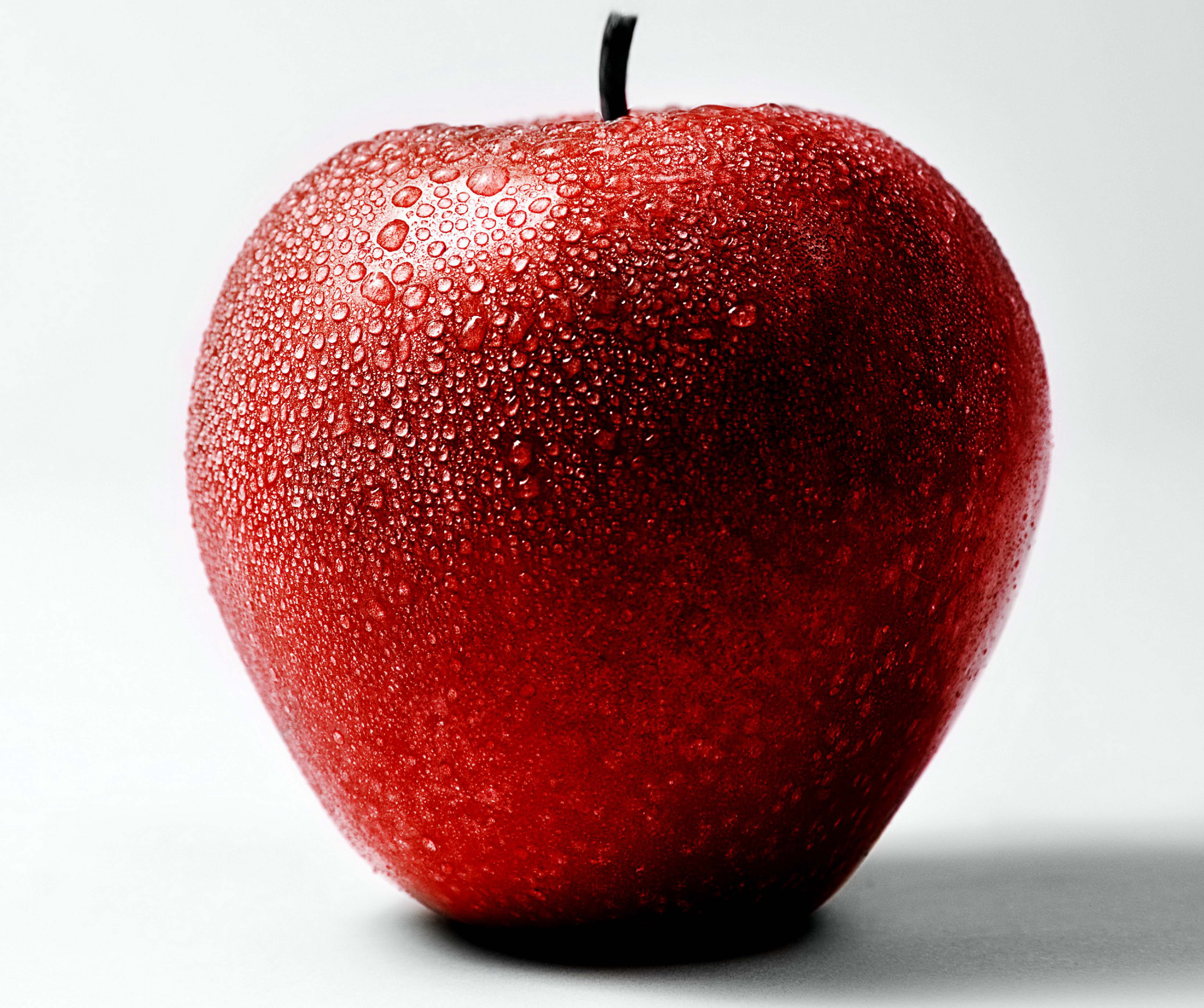 Free Picture Red Apple Water Droplets