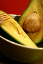 halved, Florida, avocado, exposing, bright yellow, interior