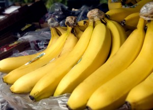 up-close, ripe, bananas market
