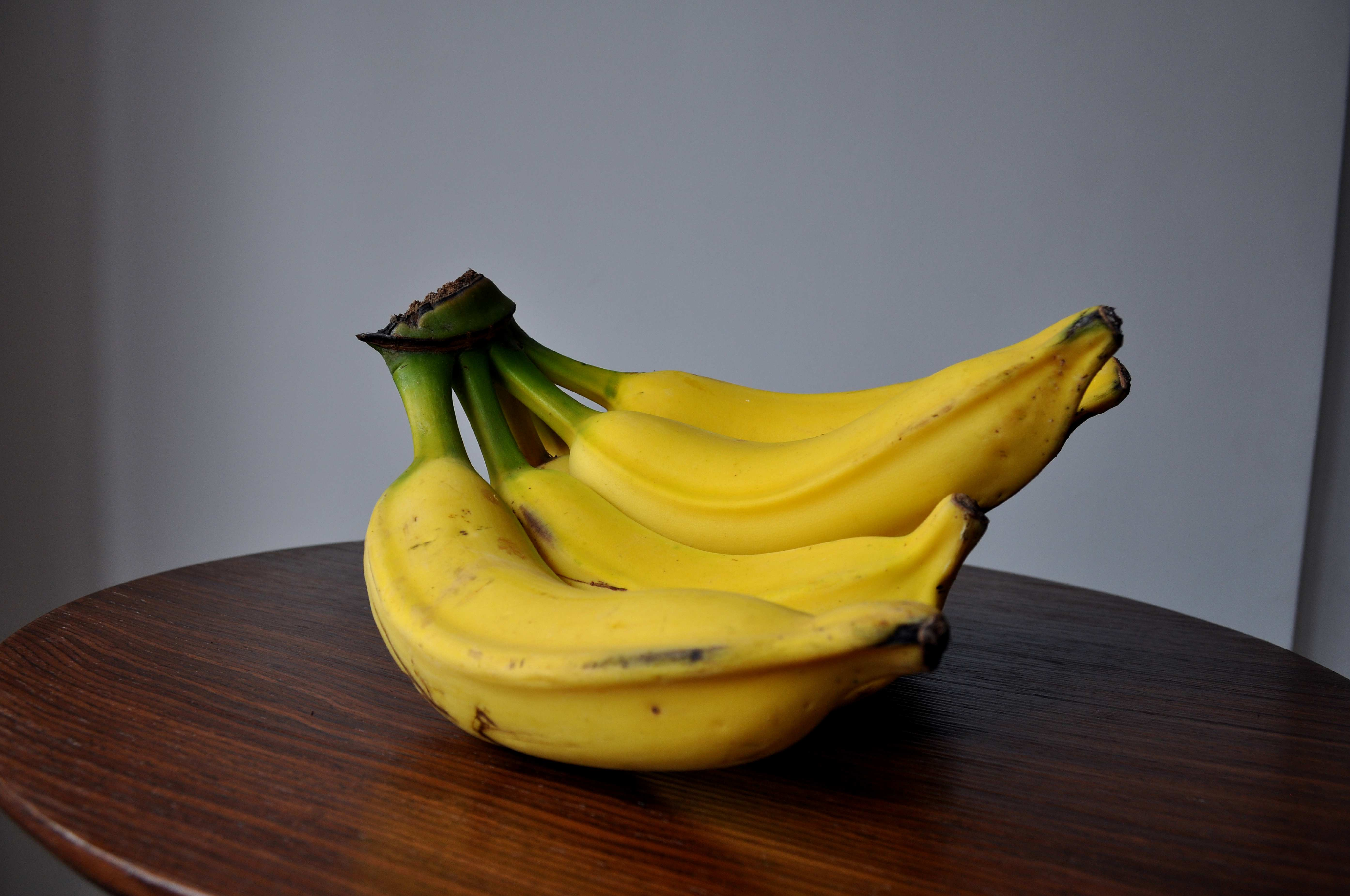 Free photograph; fresh, bananas, kitchen, table
