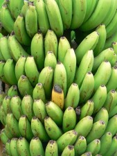 green, yellow, bananas