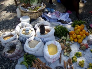 burlap, frukt, grønnsaker, sacs, ulike, korn, salg