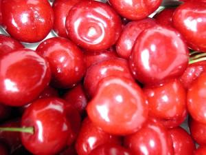 cireşe, fruct, mare, detalii, imagine