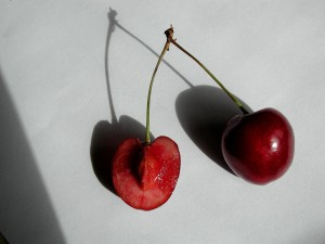cerise, tranches, fruits