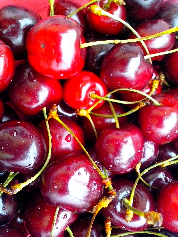 Free photograph; ripe, red, cherries
