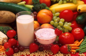 fruits, vegetables, milk, yogurt