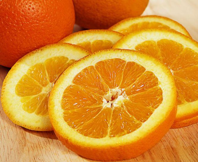 sei, fette, arancia, non tagliati, arance