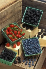 strawberries, blueberries, blackberries