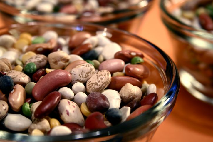 bowls, filled, mixed, dried, beans