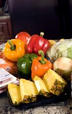 poivrons, rouge, jaune, vert, orange, sac, en tranches, les carottes, frais, tranches, ananas, doux, l'oignon